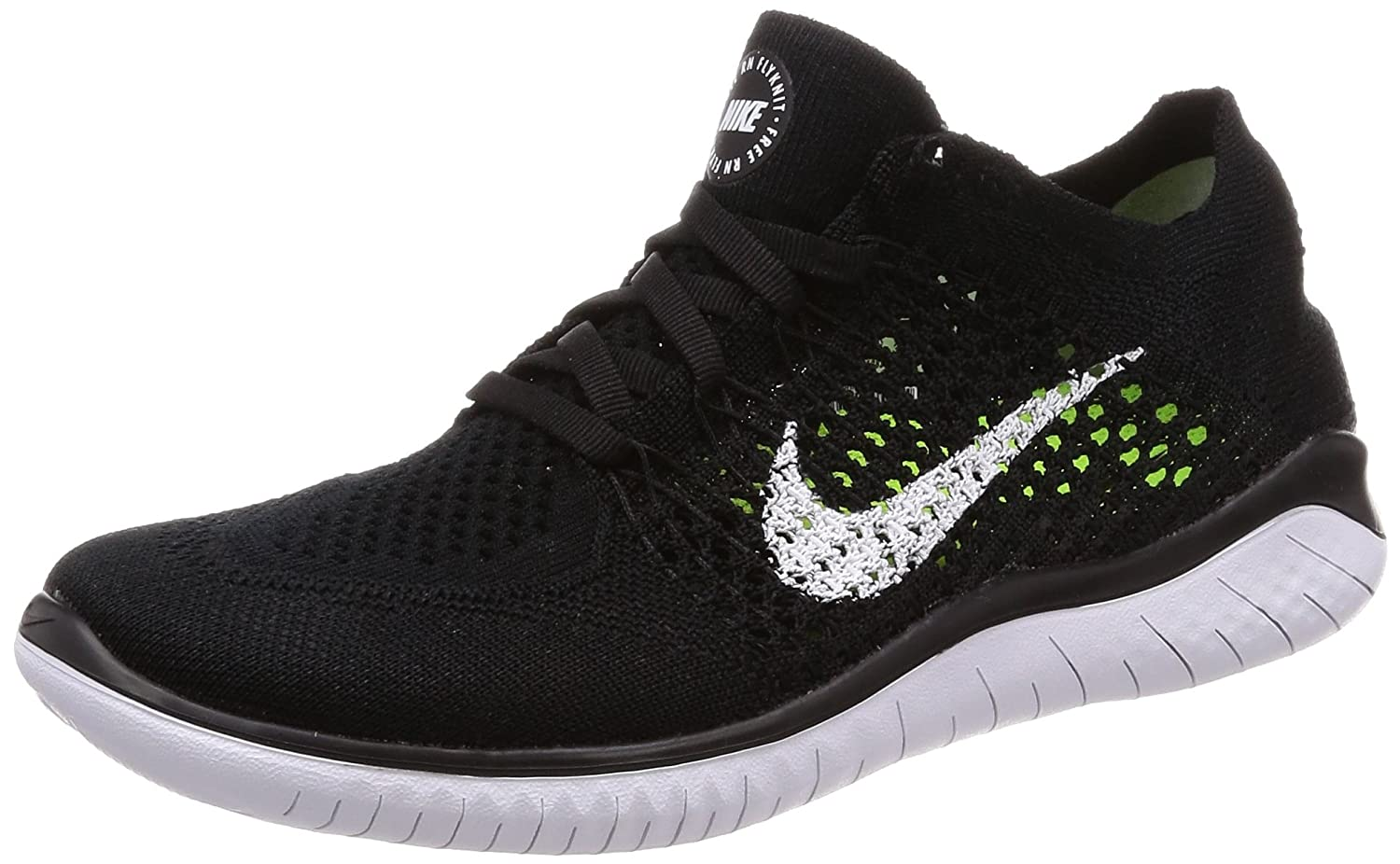 NIKE Women's Free Rn Flyknit 2018 Running Shoe B0041U11XA 8 B(M) US|Black/White