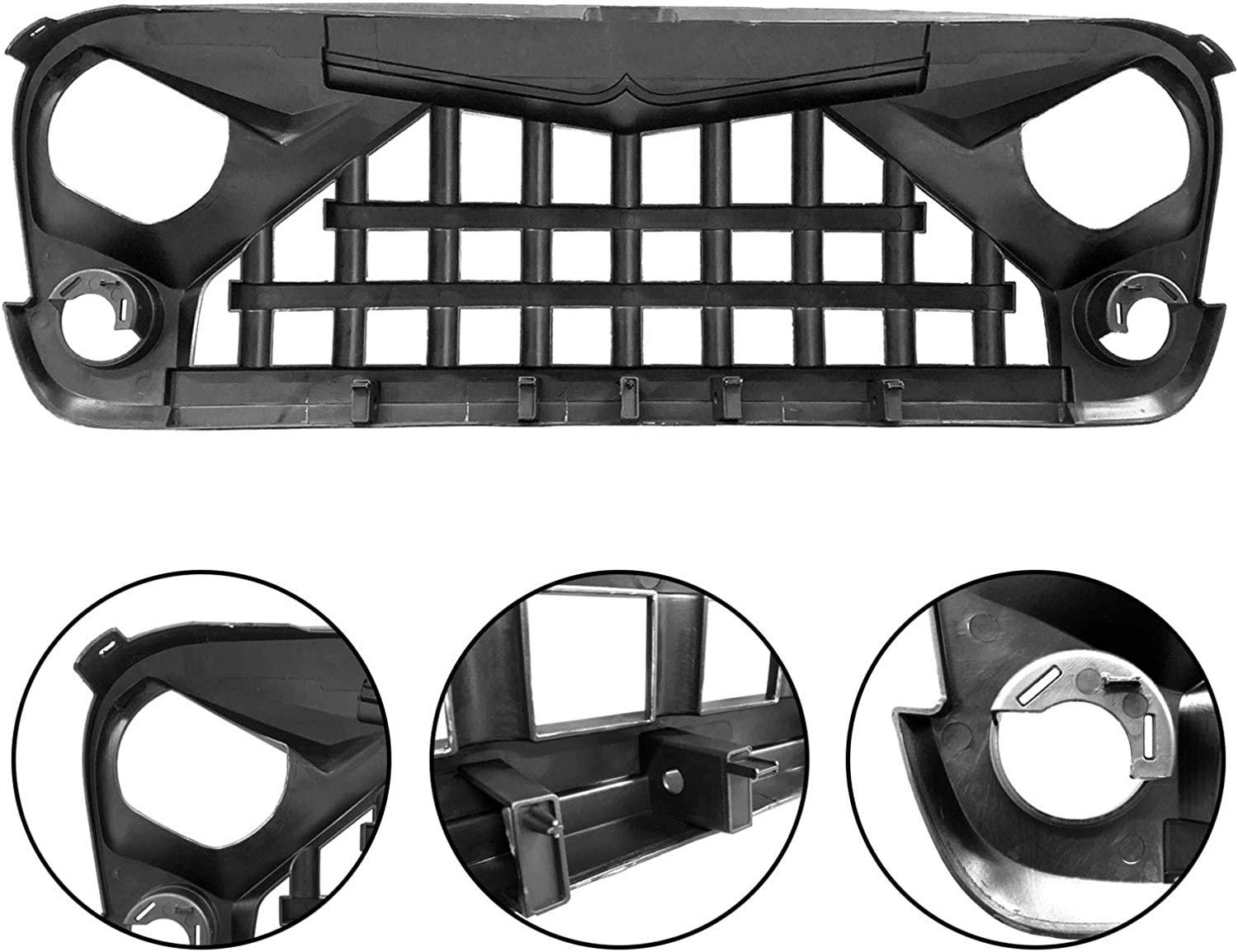 IPARTS Front Grille for Jeep Wrangler 2007-2018 Rubicon Sahara Sport JK JKU Matte Black Warrior Style