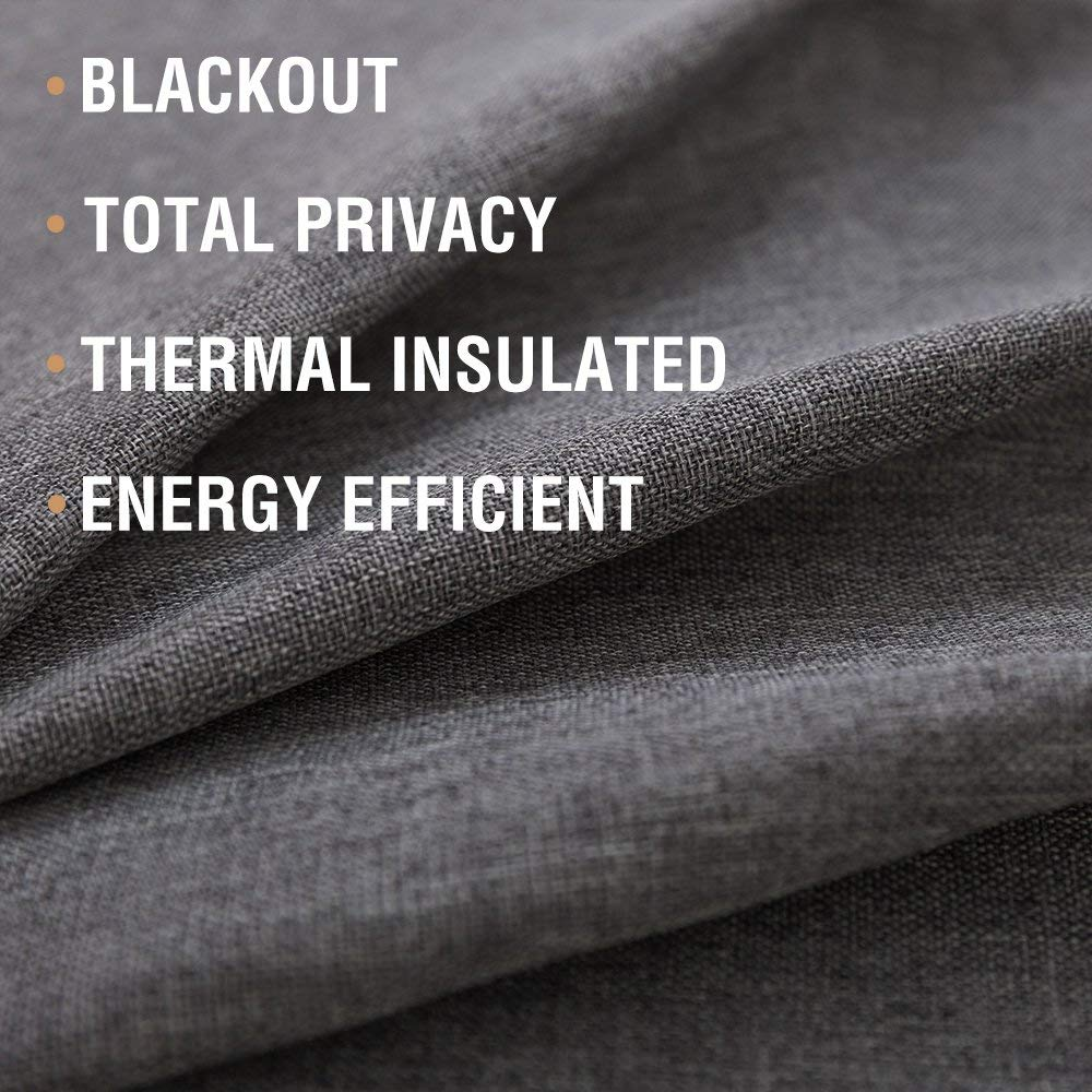 jinchan Blackout Curtains for Bedroom Linen Textured Window Curtain Panels for Living Room Darkening Drapes Grommet Top One Panel 100 W 84 L Dark Grey