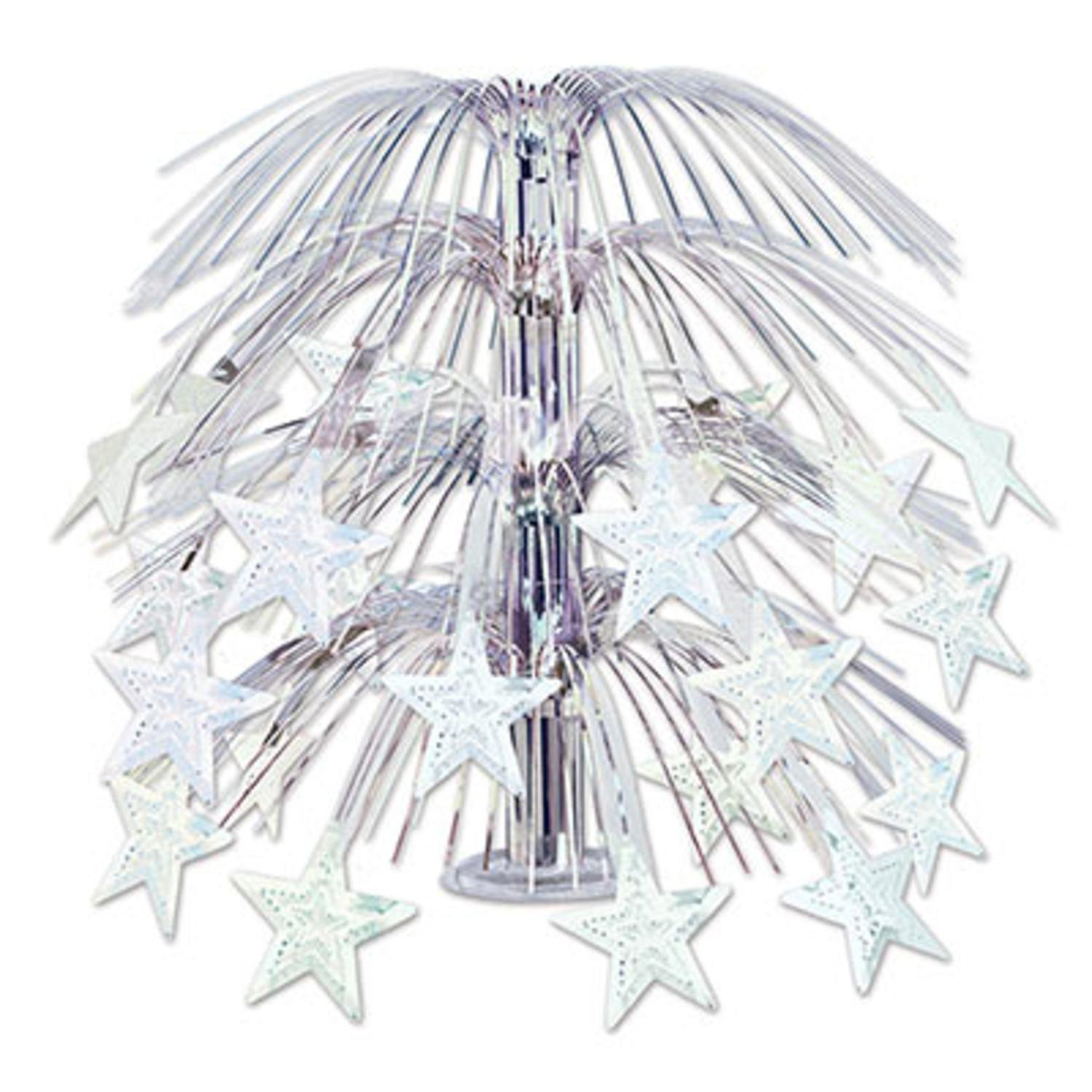 Club Pack of 6 Solid Shimmering Silver Star Cascading Party Centerpiece Decorations 18''