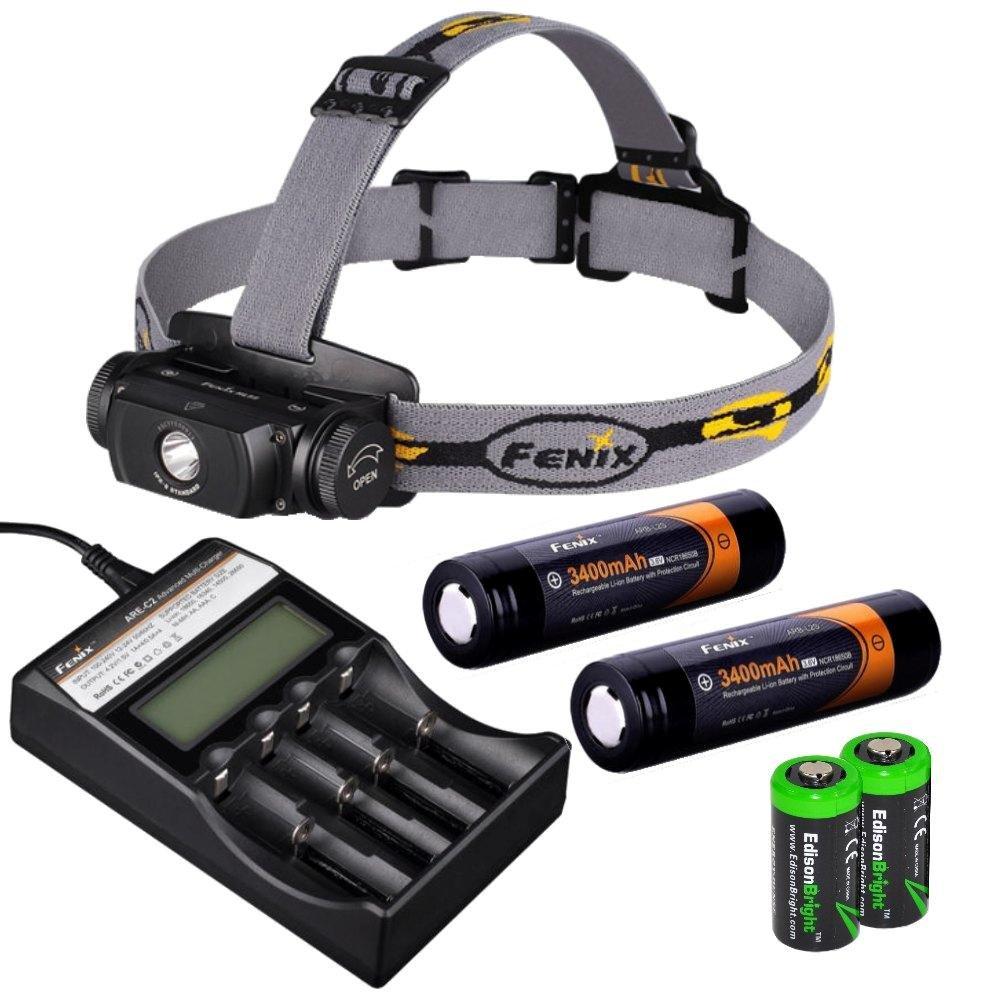 Fenix HL55 900 Lumen CREE XM-L2 T6 LED Headlamp with Fenix ARE-C2 four bays advanced digital battery charger, 2 X Fenix 18650 ARB-L2S 3400 mAh rechargeable batteries and two EdisonBright CR123A Lithium batteries by Fenix (Image #1)
