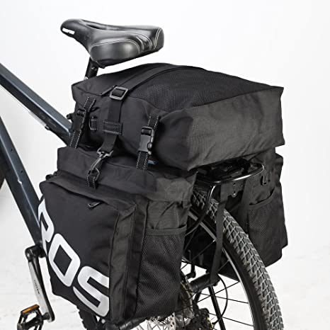 ROS - Alforjas de Bicicleta 3 en 1 con Clip de liberación rápida para Todo Tipo de Clima, Impermeables, Color Negro: Amazon.es: Deportes y aire libre