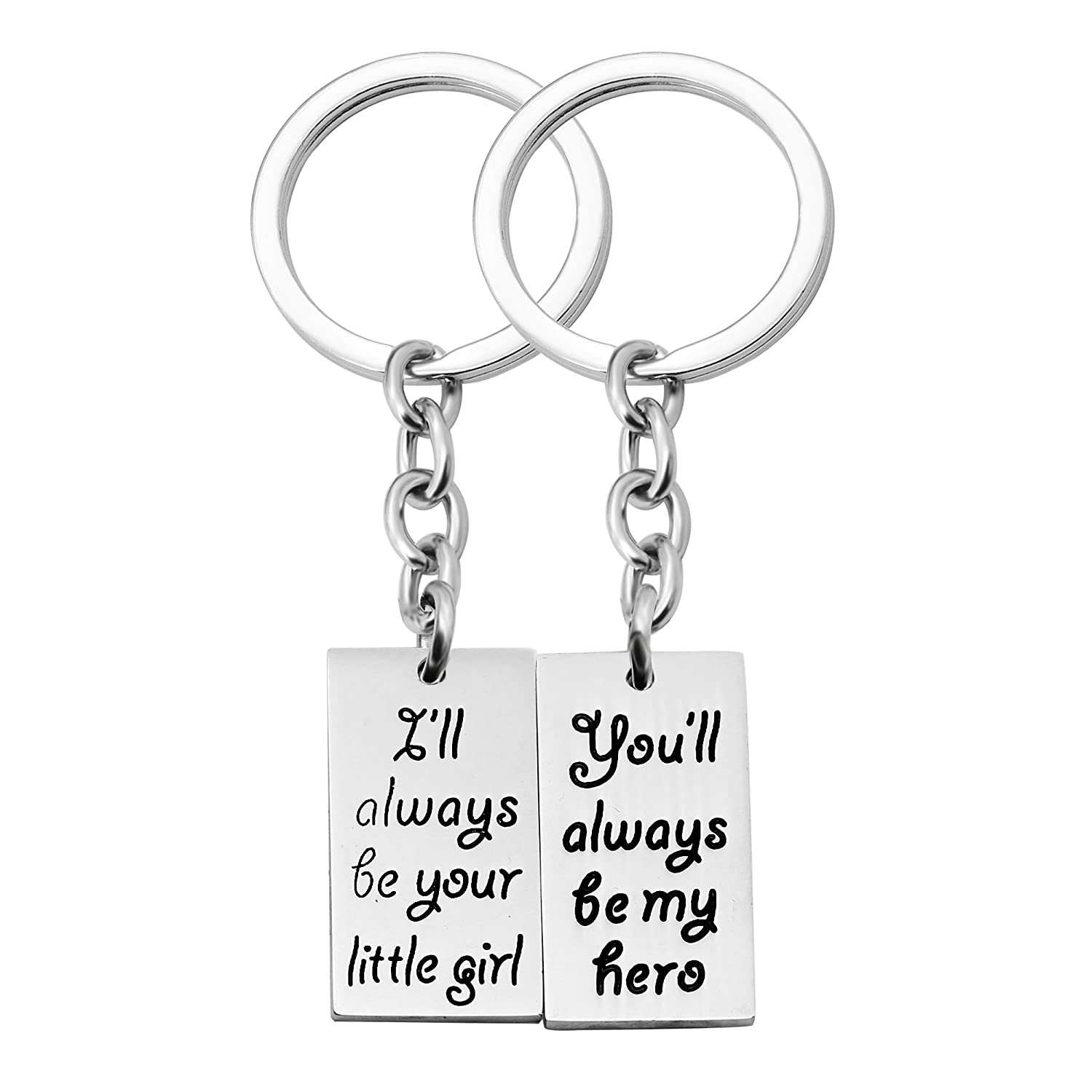 Key Ring Family Jewelry for Fathers Day Daddy Dad Papa from Daughter Son - You Will Always Be My Hero (Father Daughter) AGR8T