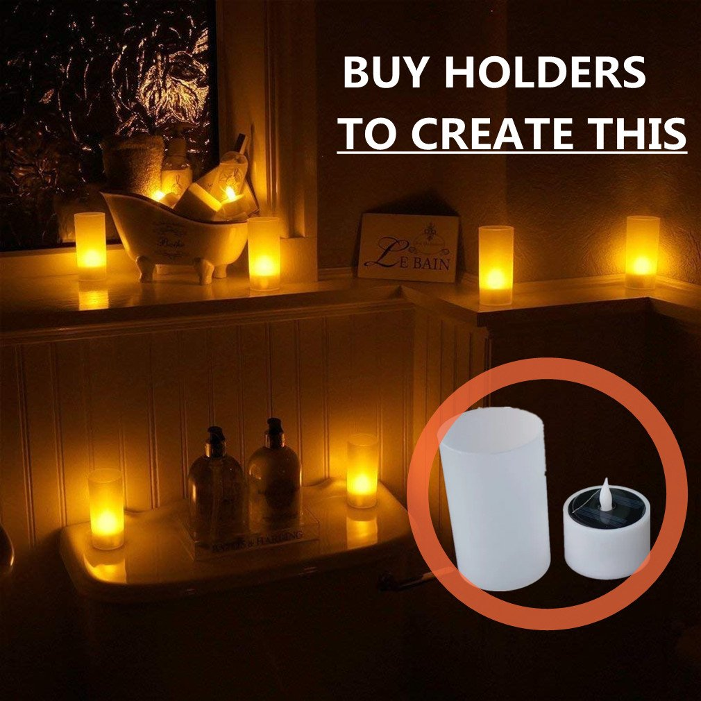 COUTUDI Flameless Candles Led Candles Tealight Candles Solar Candles, Warm White Faux Tea Light with Realistic Flicker for Wedding Patio Home Bar Party, Batteries Included 6 Pack by COUTUDI (Image #3)