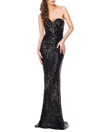 d9deec4b42c0 YSMei Women s Long Mermaid Evening Dress Sequins Prom Formal Gown Strapless Black  2