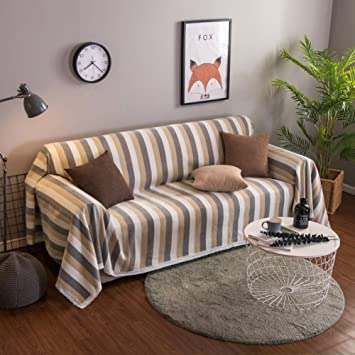 Tela Funda de sofá,Raya 1 pieza Simple moderno Four seasons Fundas de sofá a prueba de polvo Protector de los muebles para 1 2 3 4 cojines sofá Sala ...