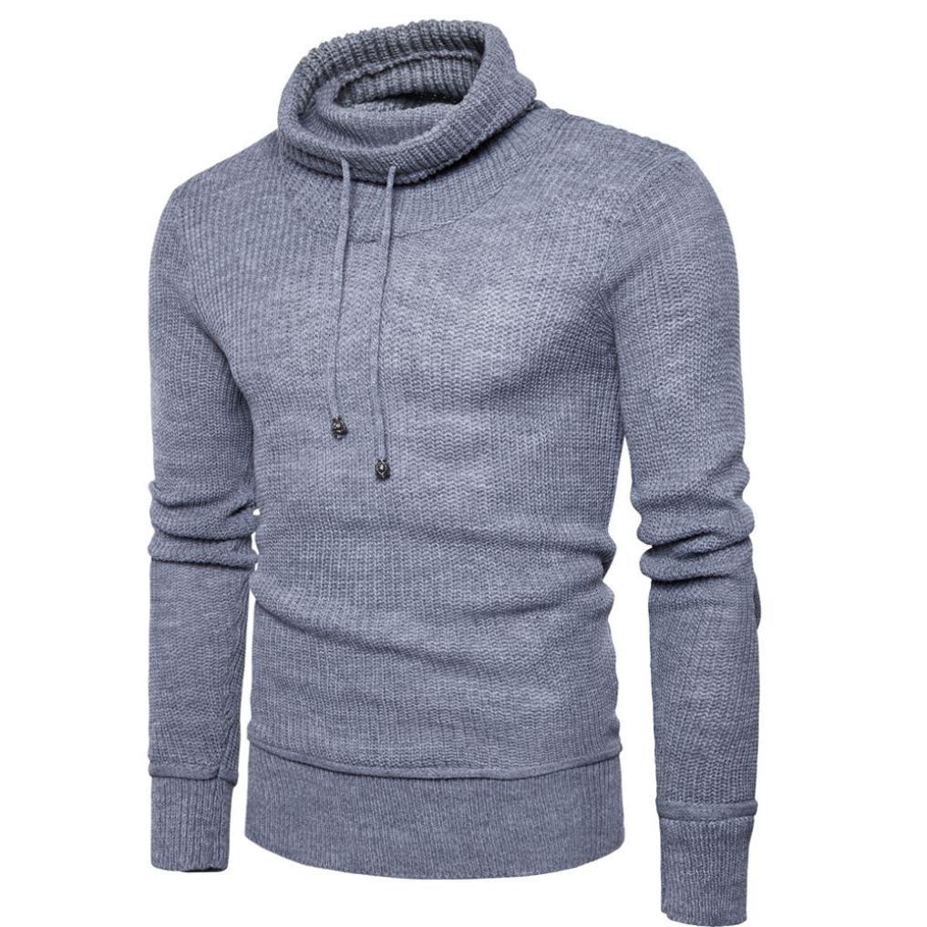 HTHJSCO Men's Sweater, Sweatshirt Pullover Autumn Winter Wool Loose Jumper Knitwear Outwear (Gray, M) by HTHJSCO