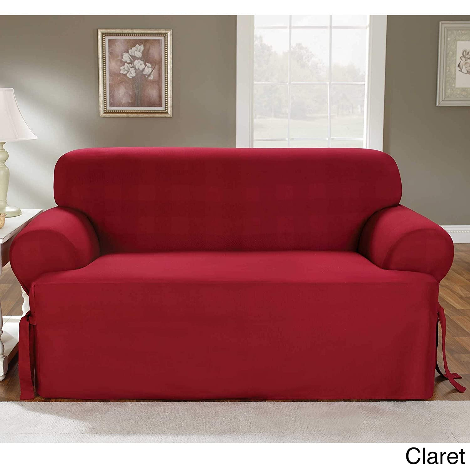 SureFit Duck Solid T-Cushion - Loveseat Slipcover - Claret (SF33878) Surefit Inc.
