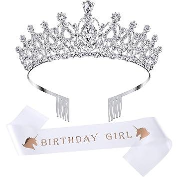 Amazon.com: Corona de cumpleaños con cristales de estrás ...