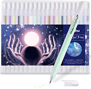 Gold Silver White Gel Pen Set for Artist, Ohuhu 10 Colors (20 Pack) Gel Ink Pens, White Pens for Highlighting on Markers Colored pencils Watercolor Paintings, Gel Paint Pens for Christmas Gift