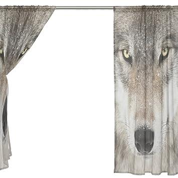 ingbags lobo cortina de SHEER gasa ventana largo 2 paneles de gato con mariposa paisaje impresión