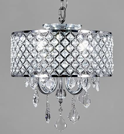 New galaxy lighting 4 light chrome round metal shade crystal new galaxy lighting 4 light chrome round metal shade crystal chandelier pendant hanging ceiling fixture aloadofball Choice Image