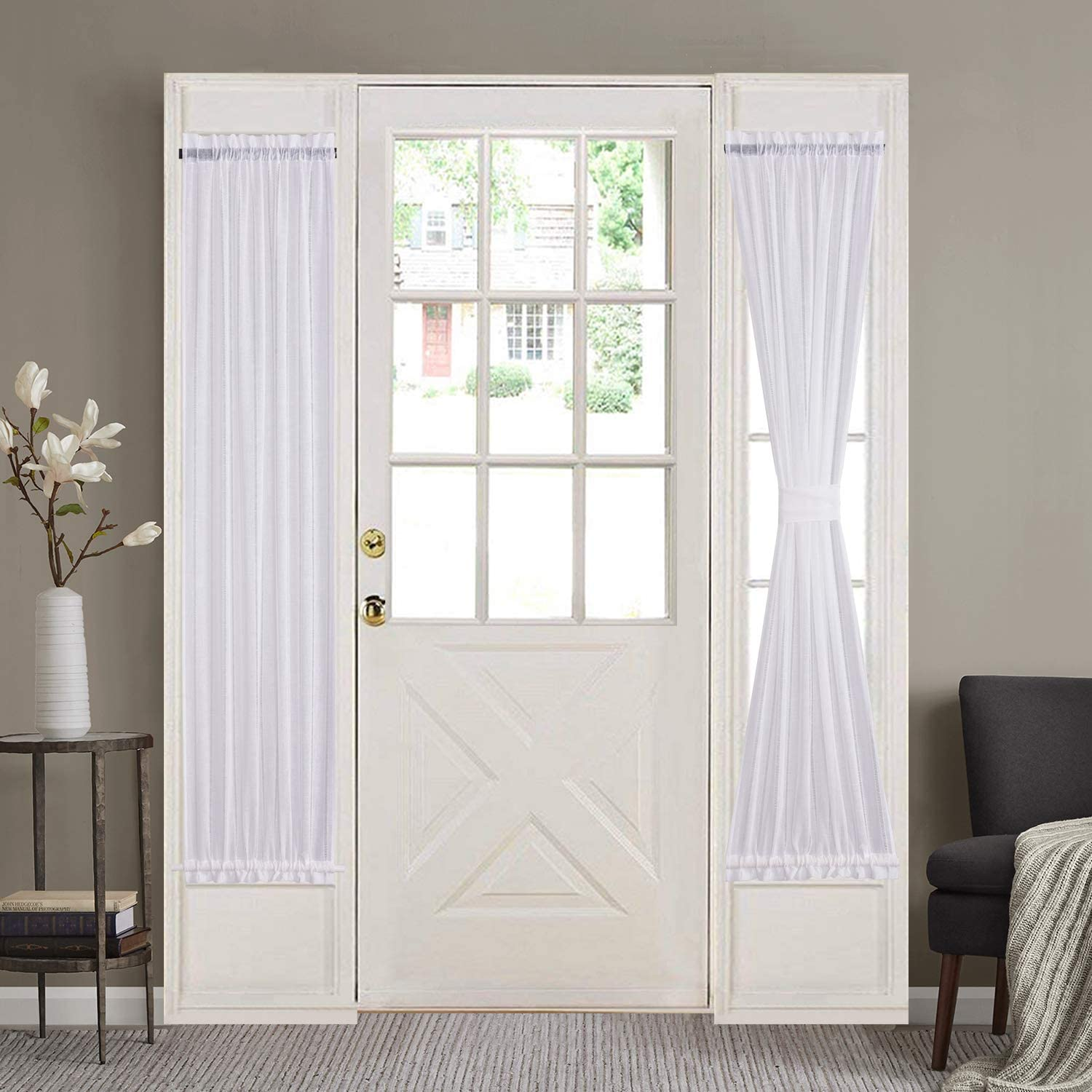 Home Brilliant Side Lights Front Door Curtains Entry Way Decor White Semi Sheer Elegant French Door Panels (30 Width x 72 Length, 2 Panels)