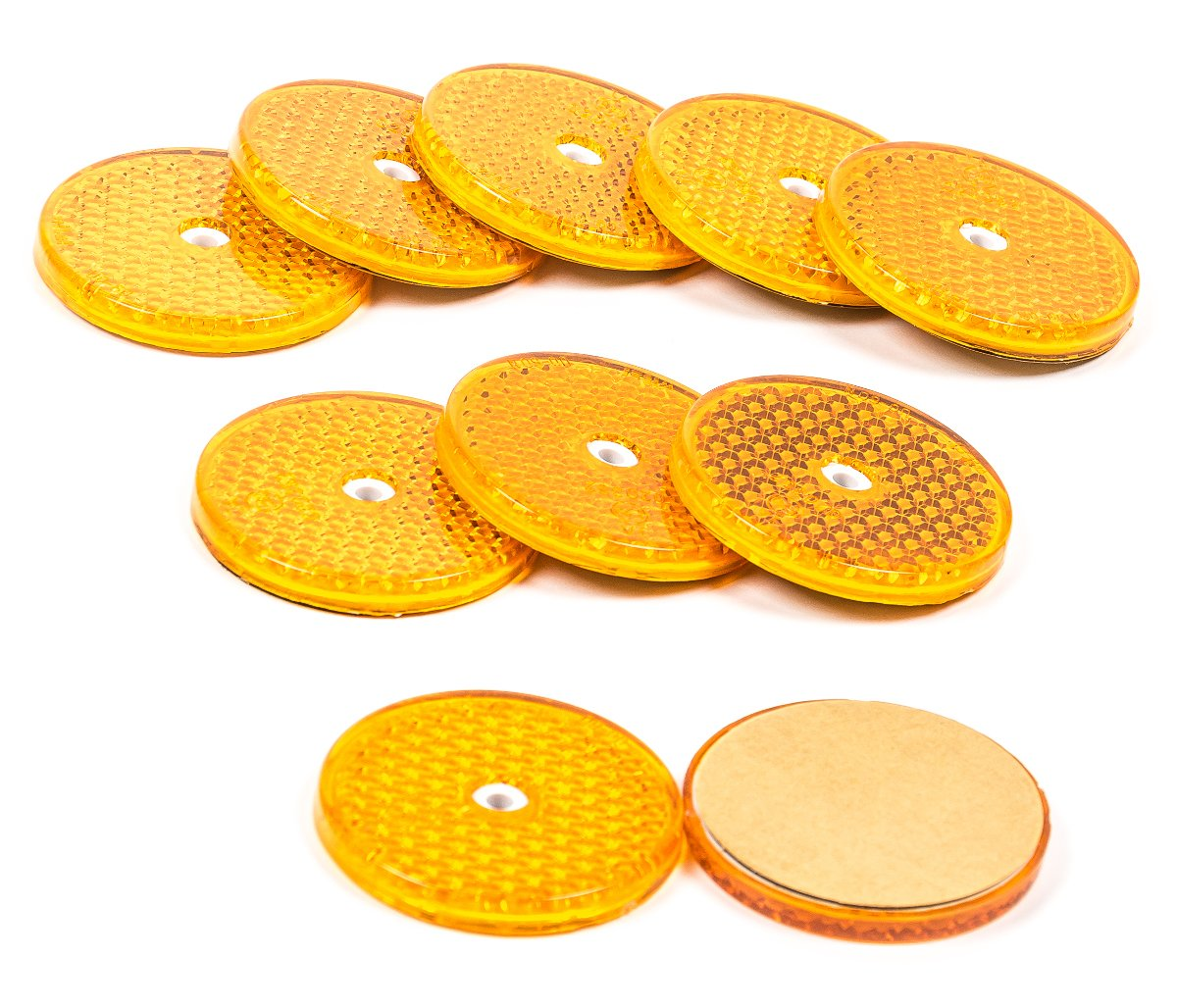 Reflektoren-Set 10 Stück sebstklebend geschraubt, rund, 6,2 cm, lieferbar in den Farben Gelb, Rot oder Weiß (Weiß) ALL Ride