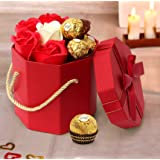 TIED RIBBONS Unique Combo Pack Faux Rose Petal Soap Ferrero Rocher Chocolate and Gift Box with Hanging Loop for Husband, Wife, Boys, Fiance, Girl-friend, Boyfriend, Him