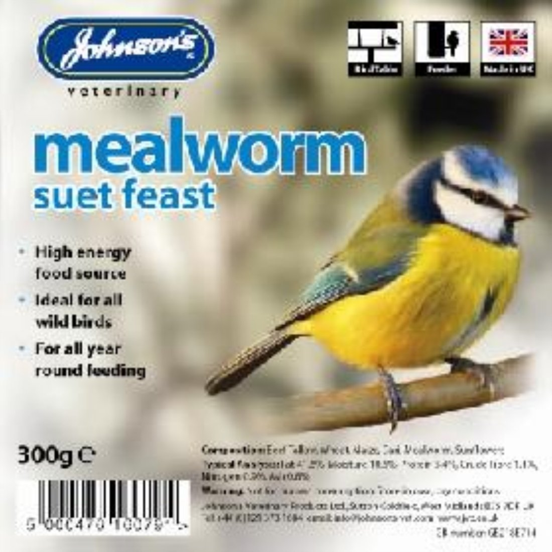 Wild Bird Suet Tray Mealworm 300g X 8 160791 34868