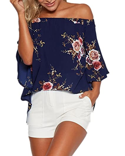 131aff8d539def ZANZEA Women s Off Shoulder Floral Printed Flowy Swing Blouse Casual Loose Shirt  Tops Navy XL