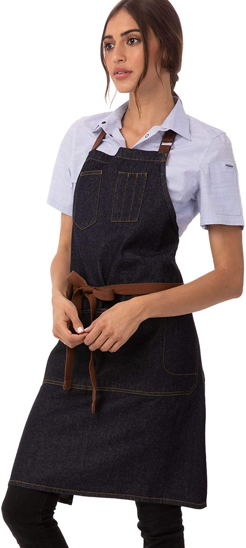 Chef Works Unisex Memphis Bib Apron, Indigo Blue, One Size