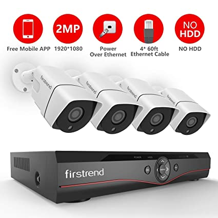 Firstrend 4CH POE Security Camera System with 4X 1080P HD Security Camera, Plug and Play