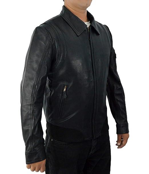 theSkinShop Hombre Negro más rápido The Rock Dwayne Johnson Chaqueta de Cuero Chaqueta de Cuero Genuino WA-203: Amazon.es: Ropa y accesorios