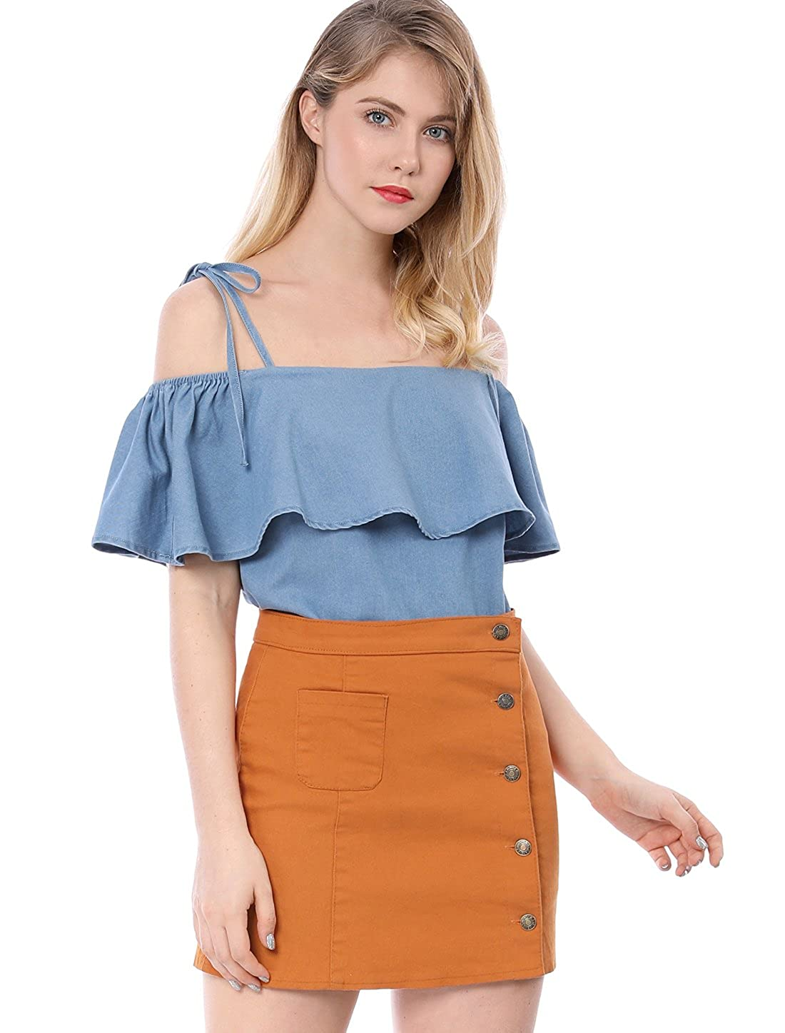 a2a44aa52dce6 Allegra K Women s Self Tie Strap Elastic Chambray Ruffle Off Shoulder Denim  Top at Amazon Women s Clothing store