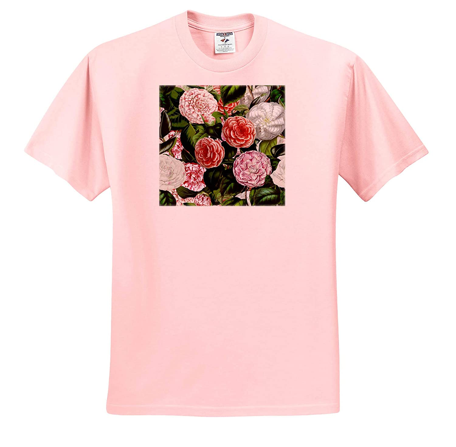 3dRose Uta Naumann Watercolor Pattern Pink and White Camellia Flowers Vintage Victorian Flower Pattern T-Shirts