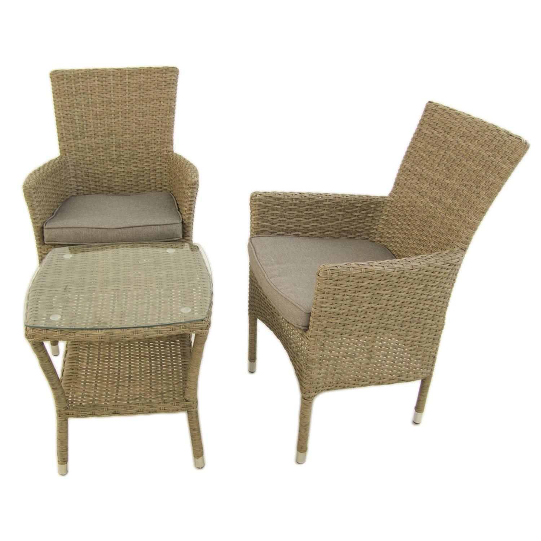 Conjunto Muebles jardín | 2 sillones apilables y 1 Mesa Auxiliar | 2 plazas | Aluminio y rattán sintético Plano Color Natural | Portes Gratis