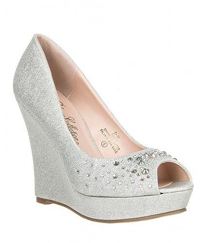 DeBlossom De Blossom Womens Glitter Rhinestone Peep Toe Pump  Alle-1,Silver,5.5