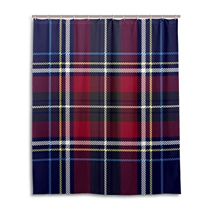 My Little Nest Red Navy Blue Checkered Plaid Shower Curtain Bathroom Decor Waterproof Fabric Bath