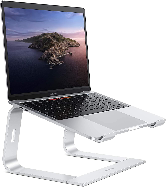 OMOTON Soporte Ordenador Portátil Mesa, Soporte Laptop de Aluminio para Macbook Pro/Air, DELL, HP, Lenovo y Otros Portátiles y Netbooks, Base de Portátil para Ordenador de 10-15,6 Pulgadas, Plata.