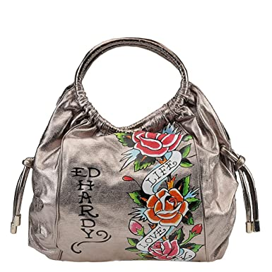 Amazon.com  Ed Hardy Jennifer Live Love Luck Hobo Bag - Gunmetal  Clothing ef3e0f21dddae