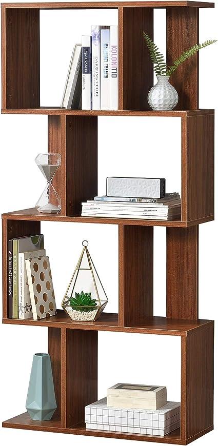 en casa bibliotheque pour salon meuble de rangement stockage avec plusieurs etageres mdf melamine 130 x 60 x 24 cm noyer