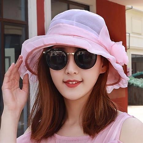 LIUXINDA-MZ Mujeres de primavera y verano gasa sombrilla playa casco ... 028a4aceee7