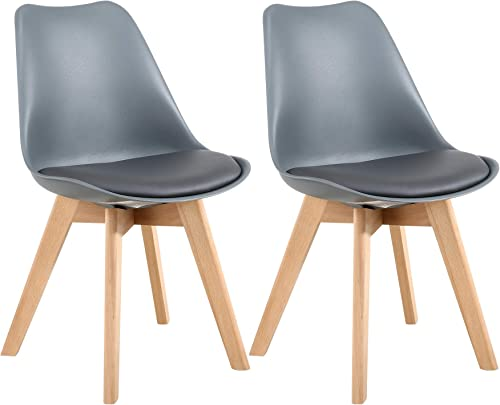 LSSBOUGHT Mid Century Modern Dining Chairs,Shell Lounge Plastic Side Chair