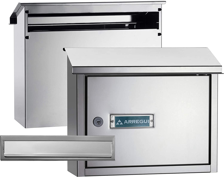 Arregui V4087 Pack Bocacartas y Recogecartas de Acero Inoxidable, tamaño M (DIN A4), Inox espejo