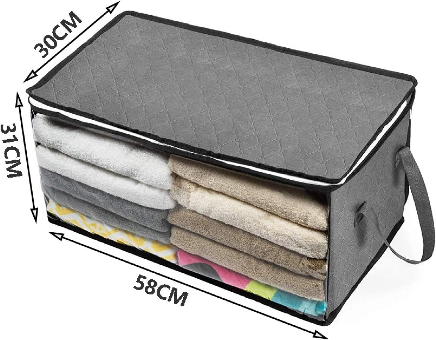 Lsooyys Storage Bag Foldable Comforter Household Clothing Storage Box Dustproof Non-woven Quilt Storage Bedding Bra Socks Coats Wardrobe Organizer with Clear Window Clothes Blanket