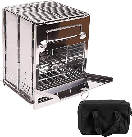 Small Firewood Stove Camping Folding Wood Stove Charcoal Burner Stove Outdoor LC