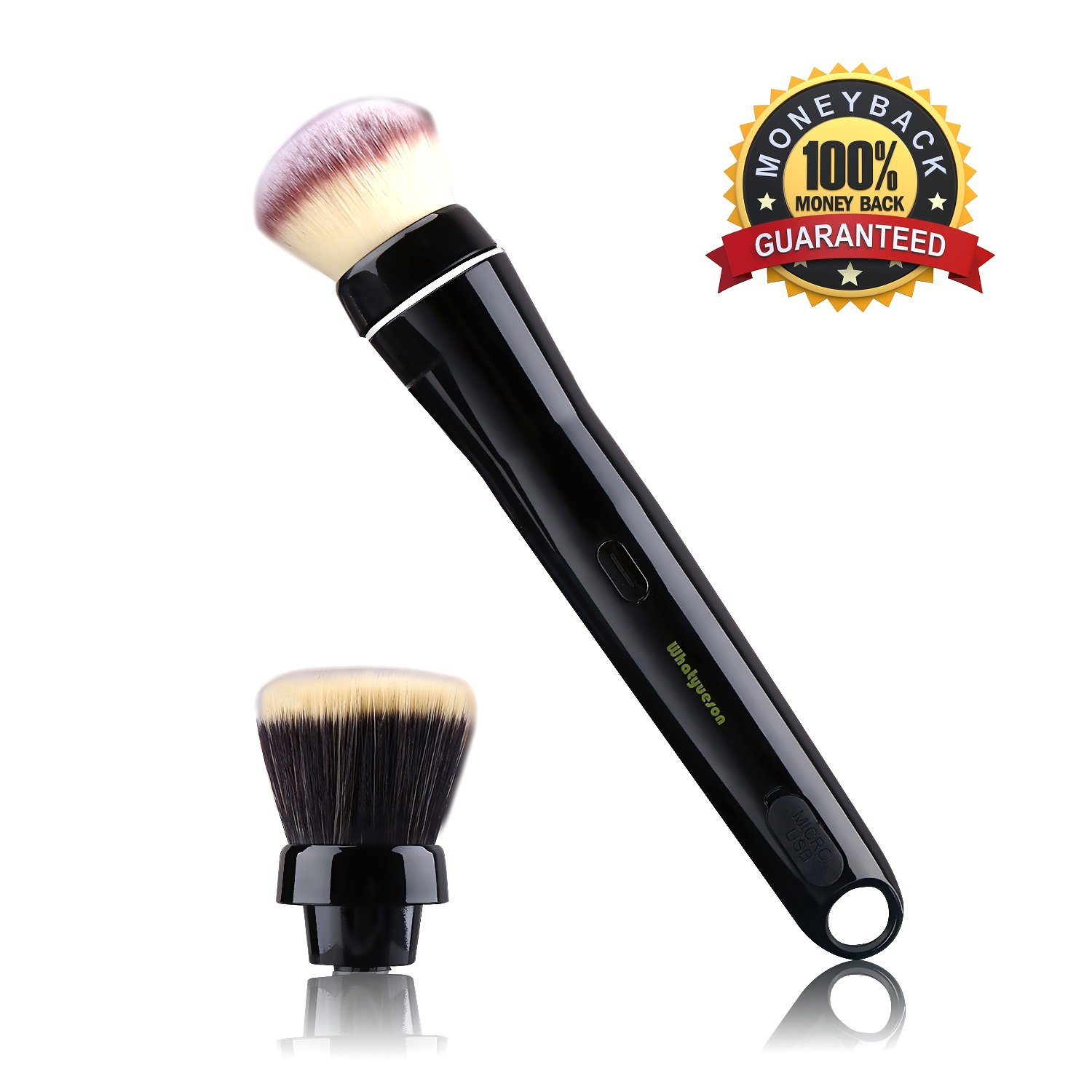 Electric Makeup Brush, Powder Brush Professional Cosmetic Brush 360 Degree Rotatable Set with Detachable Brush And Foundation Makeup Brush Heads, USB Rechargeable, Gift Wrap Powder Brush(Black)