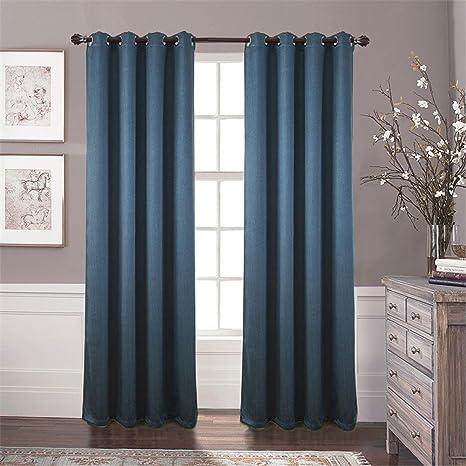 LCurtains 2 Scheiben Polyester Jacquard Fenster Vorhang Vertikaljalousien, Blue, 140 x 260 cm