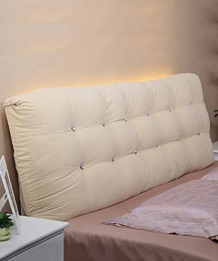 various colors ae673 5a8a4 LIANGJUN Cotton Bed Support Cushions Bedside Soft Bag Backrest Pillow  Headboard Big Cushion Detachable-Twin/Full/Queen/King Size (Color : 4, Size  : ...