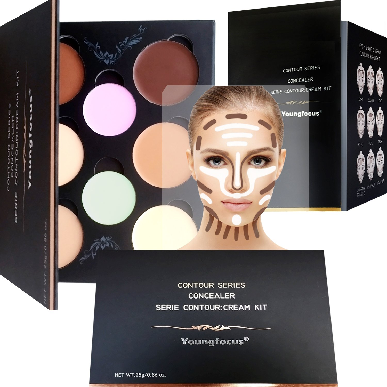 Cream Contour Palette Makeup kit – Youngfocus Best 8 Colors Cosmetics Highlighting Face Contouring Foundation Concealer for Hypoallergenic Moisturizing Light and Breathable Contour kit Comprise Contouring Guide Included