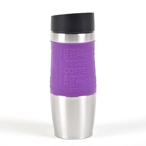 Gobelet isotherme de la marque Ocean5, gobelet isotherme en acier inox avec opération d´une main, 350 ml, savourer un coffee to go par simple pression de bouton, Travel Mug, couleur: pourpre