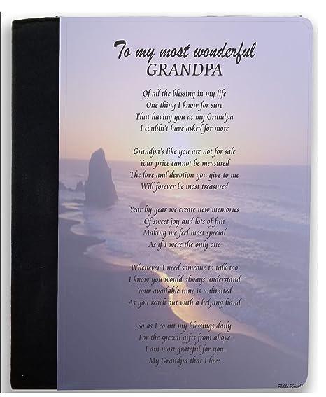 Rikki Knight To My Most Wonderful Grandpa Sailboat At Sunset Ocean Waves Design Poem Notebook Portfolio
