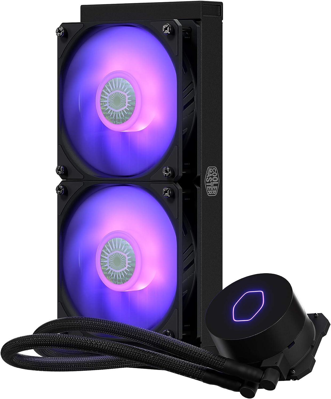 Cooler Master MasterLiquid ML240L V2 RGB Refrigeración a Liquido – Efectos Iluminación Brillantes, Bomba 3ª Generación, Radiador Superior y Doble Ventilador SickleFlow 120 mm, Color Negro