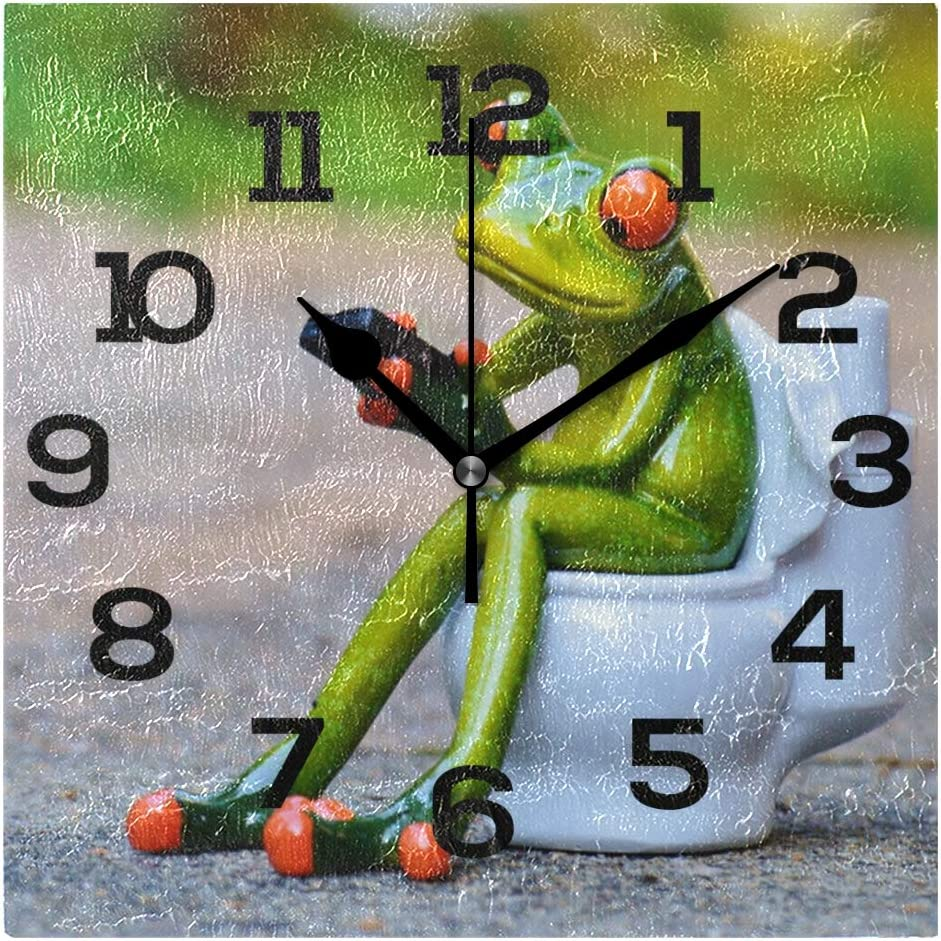 IMONKA Internet Frog Square Wall Clock Non Ticking Silent Acrylic Clocks for Home Decor Living Room Bedroom Kitchen School Office