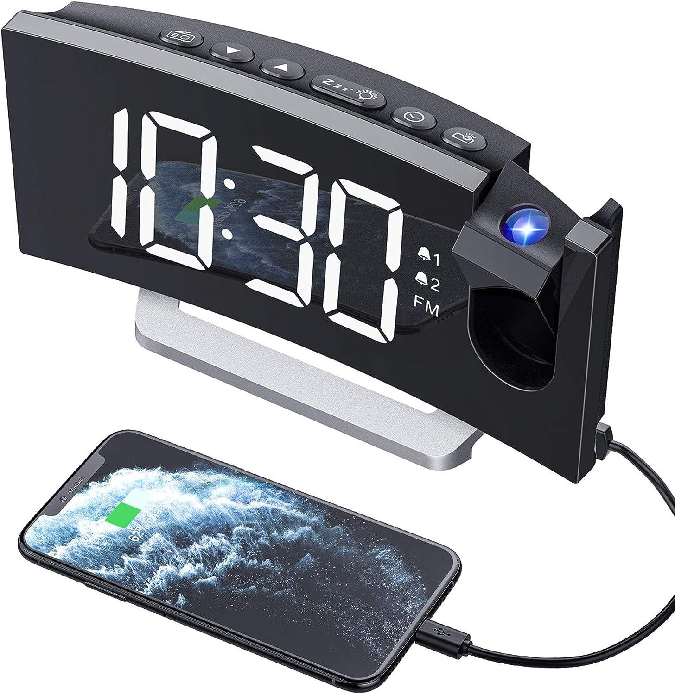 Mpow - Despertador Digital con proyección y Radio, con Puerto USB, Doble Alarma, 5 Tonos de Alarma con 3 Niveles de Volumen, 0-100% de Brillo, 4 Niveles de Brillo de proyección, Radio FM