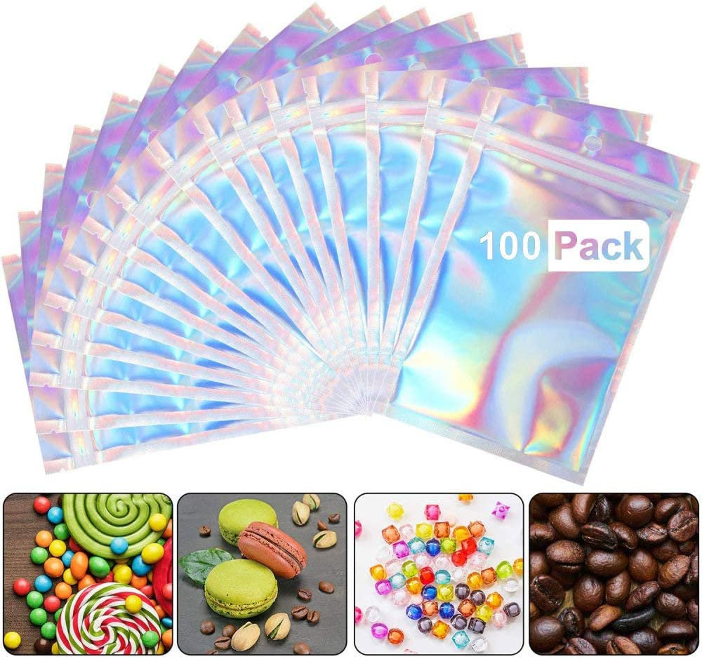 100 Pieces Resealable Smell Proof Bags Foil Ziplock Bags, Mylar Cute Packaging Bags for Daily Storage and Party Favor Food Storage, Holographic Bags Packaging, 5.5X7.9in/14X20cm