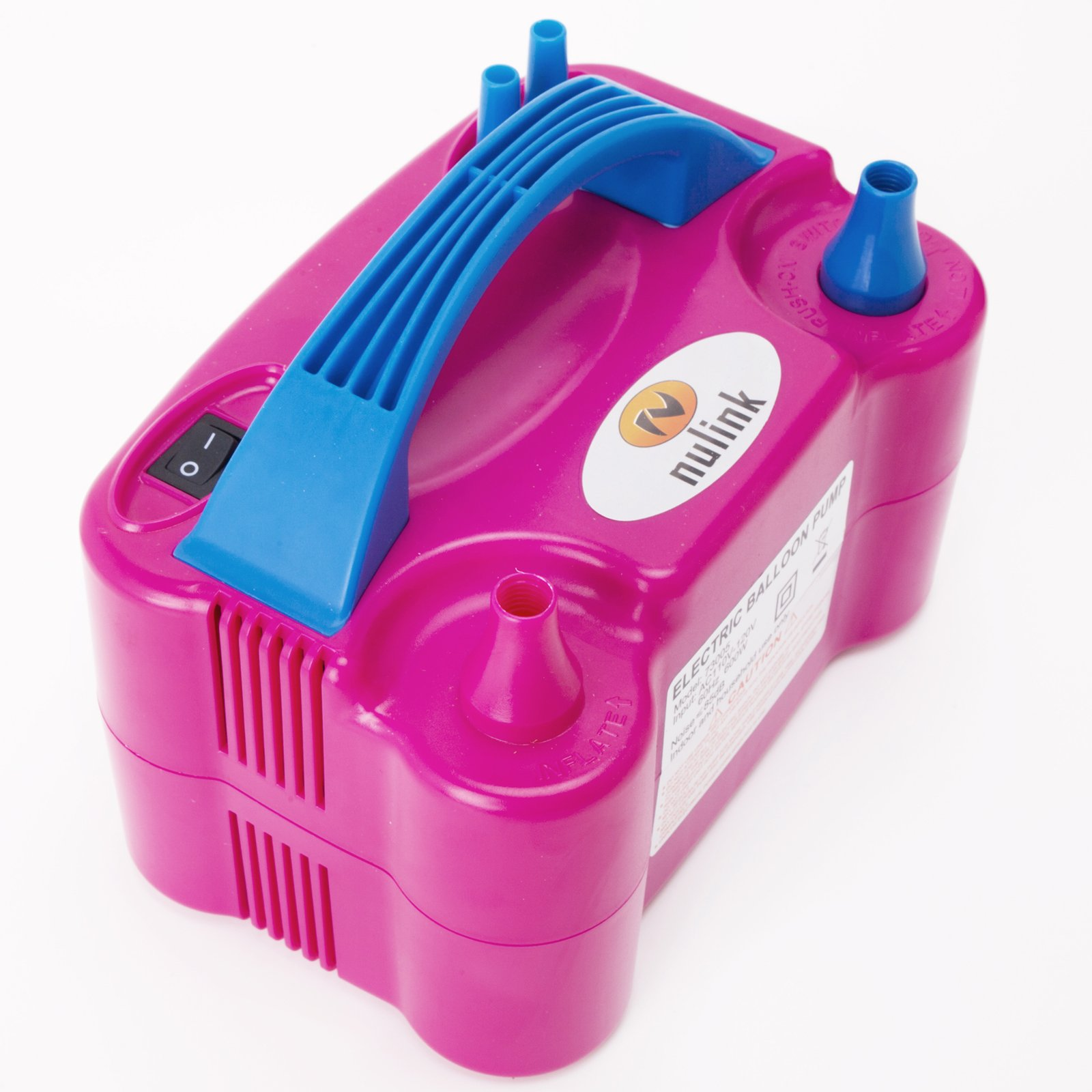 Nulink Electric Portable Dual Nozzle Balloon Blower Pump Inflation for Decoration, Party, Sport [110V~120V, 600W, Pink]