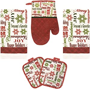 Lobyn Value Packs Kitchen Towel 5 Piece Linen Set 2 Towels 2 Pot Holders 1 Oven Mitt (X-Happy Holiday)