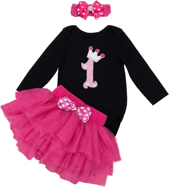 BabyPreg Baby Girls Long Sleeves 1st Birthday Tutu Outfit Dress Headband